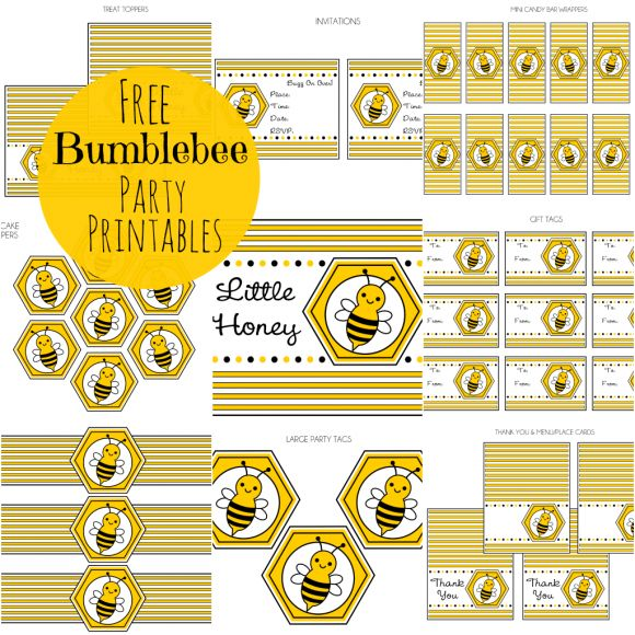 "FREE Bumble Bee Party Printables.  These would be perfect for a gender reveal party with a ""What will it Bee?"" theme, or a gender neutral baby shower."