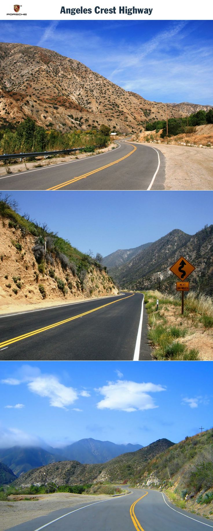 Angeles Crest Highway, USA. Driving along Magnus Walker's home route. Start: Los Angeles. Destination: Wrightwood. Driving time: Approx. 2 hours. Distance: Approx. 105 km (65 miles). Recommended travel time: March - September.   Learn more: http://link.porsche.com/gts/usa1