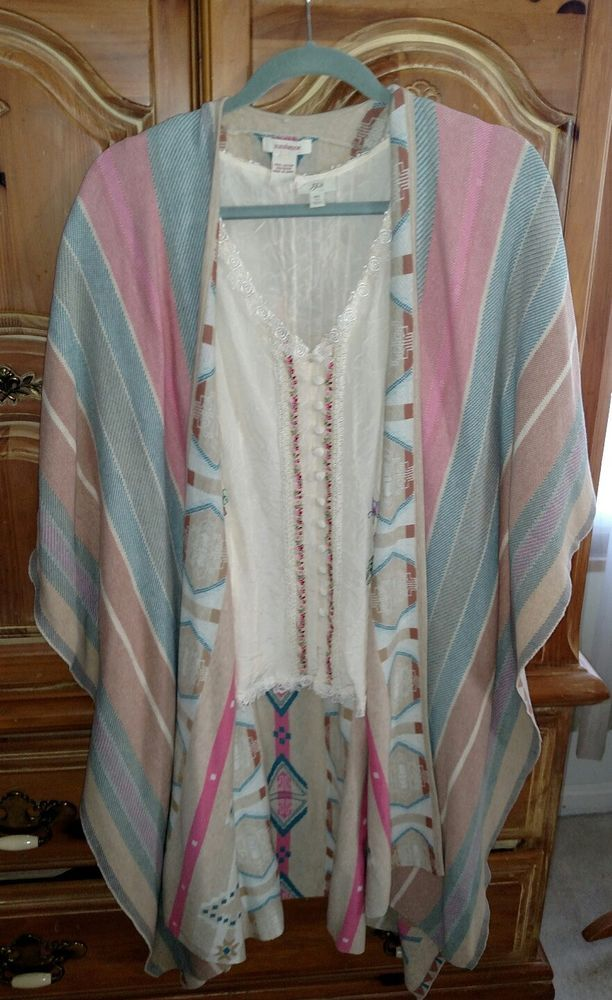 NWOT Sundance Ruana Wrap Poncho Shawl in Pastel Stripes with reverse being a southwestern pattern. Pastel color on tan Knit, pink, ivory, blue,teal, Turquoise, green . Just gorgeous colors and a wonderfully soft knit New, without tags and never worn. Shown with a Crinkle cupra rayon Blouse, not included.One size fits all | eBay!