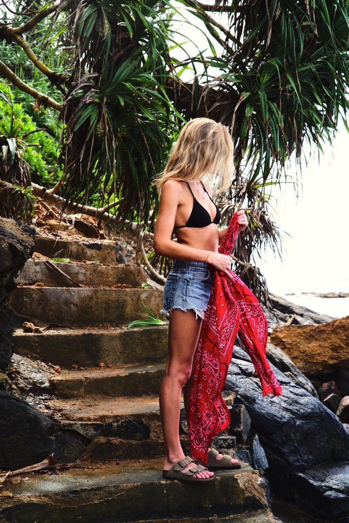 black bikini + cutoffs + red bandana + birks @fashionmenow #paradisefound