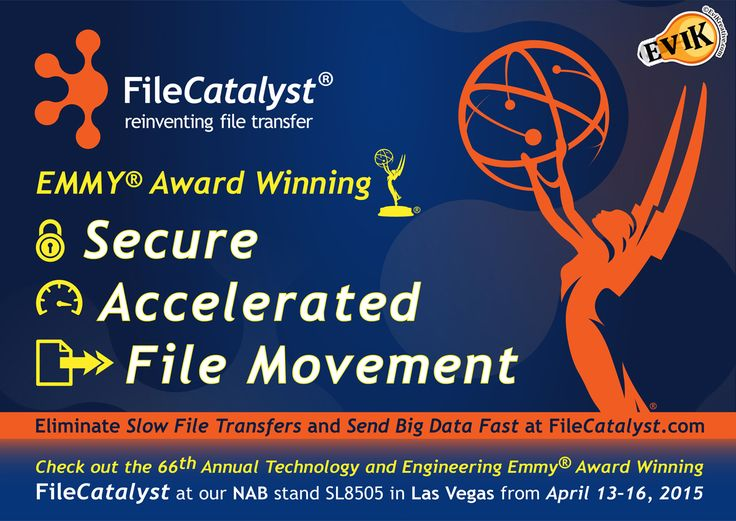 Advertisement Design for the Emmy award winning FileCatalyst, exhibiting at NAB stand SL8505 at the Las Vegas Convention Center, in Las Vegas, from April 13 – 16. Register for NAB.