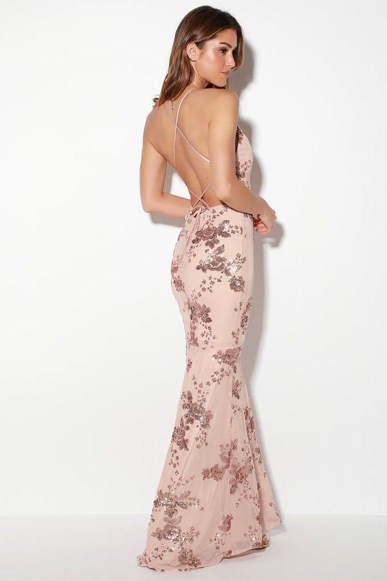4fbdf01056 Valhalla Rose Gold Sequin Lace-Up Maxi Dress