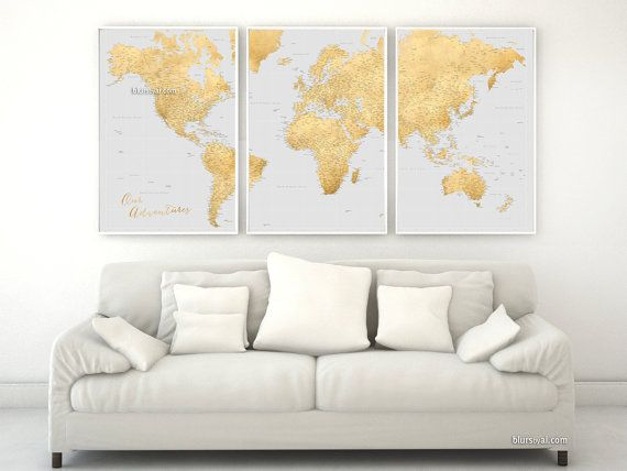 Black friday sale, travel lover gift, Highly detailed map poster. Large world map with cities. 3 panels world map print, gold map map151 027