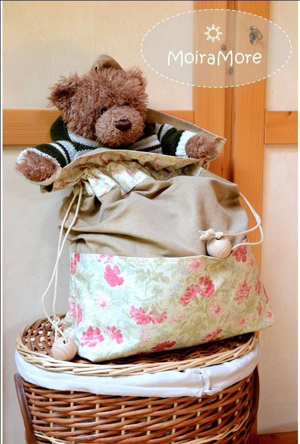 Sacca porta-giocattoli o porta-biancheria in lino e cotone americano per cameretta bimbo : Cameretta bambino, bebè di moiramore