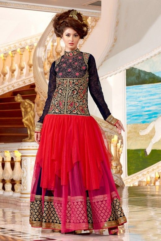Blue and Red Faux Georgette Anarkali Suit