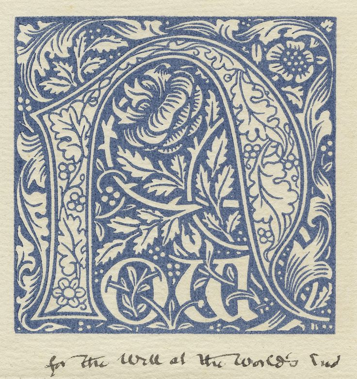 Trial pull of Kelmscott Press woodcut initials.    William Morris created these experimental designs for initial letters used in The Well at the World's End and The Waters of the Wondrous Isles.