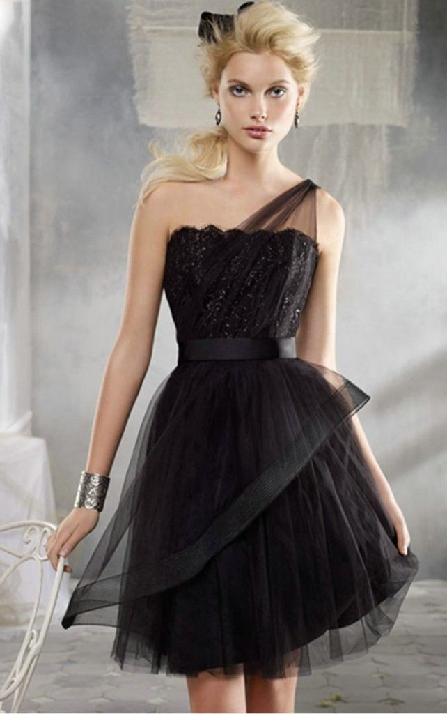 One Shoulder Tulle A Line Little Black Dress The Glamour Of Trends