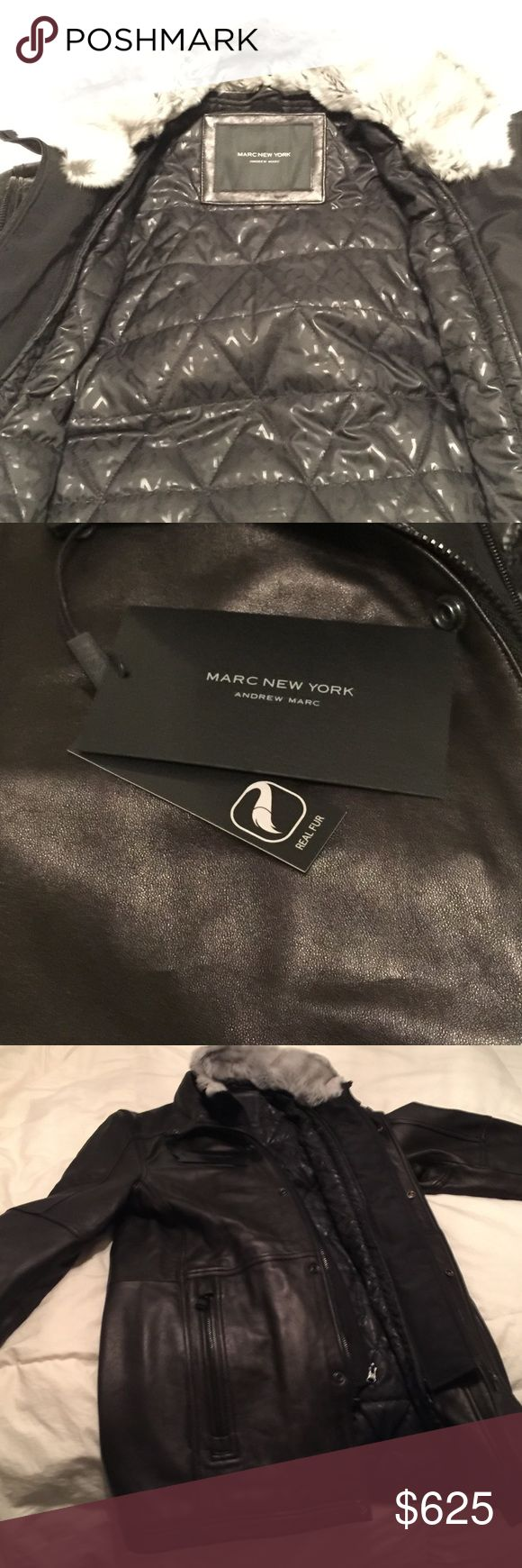 Andrew Marc New York Mens leather jacket with tags Authentic! Brand new with original tags! Never worn! Andrew Marc New York Mens leather jacket with real fur size small!! NEGOTIABLE !!!! DID NOT FIT :( NEEDS A GOOD HOME! Andrew Marc Jackets & Coats
