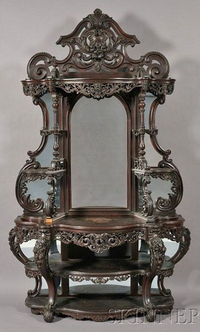 Victorian Rococo Revival Carved Rosewood Etagere With Serpentine Frame Carved In High Relief With Roses An C-Scrolls, Mirrored Back, Possibly Alexander Roux - New York   c.1850-1860