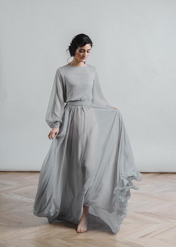 Grey wedding dress Nirvana, boho bridal gown, chiffon skirt, modest brautkleid, …
