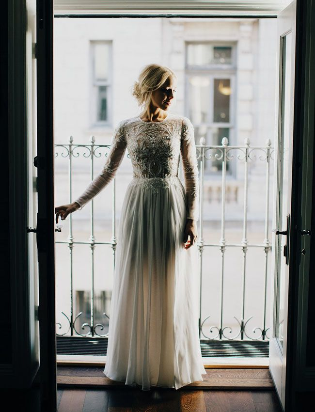 Lovely Bride wedding dress, beaded long-sleeve gown