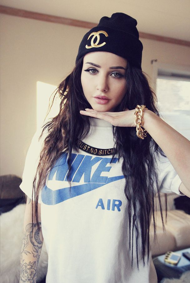 From azita66.tumblr.com  tattoos,prettyface,long hair..perfection  i like the tomboy feel too