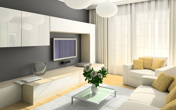 Модные тенденции - использование серого цвета в интерьере гостиной