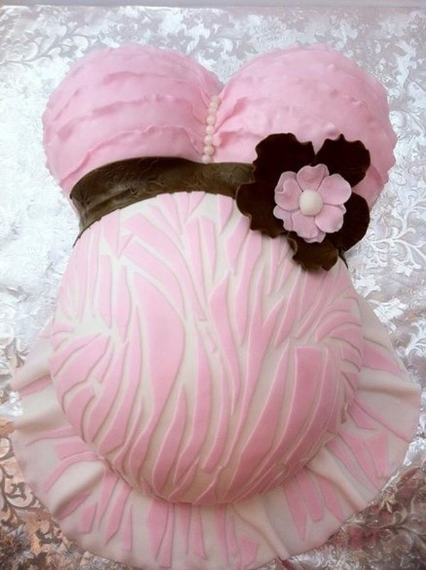Ruffled Pink Zebra Belly Cake