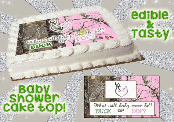 Camouflage baby shower cake topper Boy girl buck by Pictures4Cakes, $8.00