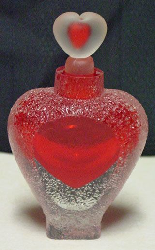 Frosted red crystal heart perfume bottle