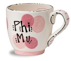 Phi Mu Ceramic Dot Mug. www.sassysorority.com #sororitygift #PhiMu #drinkware #sororitymerchandise #handpainted #sassysorority #mug