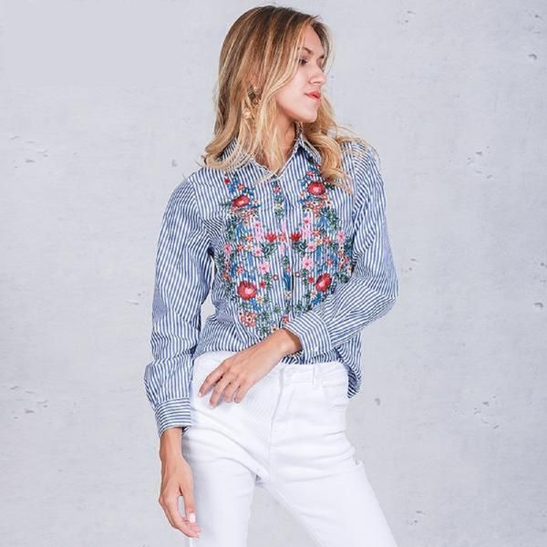Embroidery floral Casual blue striped blouse shirt – Lifestyleshopee.com