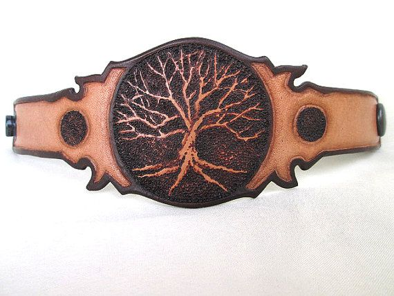 Leather Tree Cuff, Tree Of Life Cuff, Unisex Leather Cuff, Tree Bracelet…