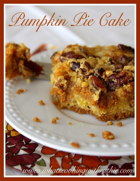 Pumpkin Pie Cake!  Fun fall dessert recipe from a cake mix! by whatscookingwithruthie.com #recipes #cake #pumpkin