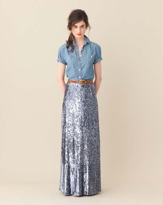 denim + sequinsSequins Skirts, J Crew, Chambray Shirts, Sequin Maxi Skirts, Long Skirts, Denim Shirts, Sequins Maxis Skirts, Jcrew, Leather Belts