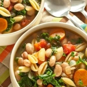 Pasta and Bean Soup with Kale  -  It's true, the nights are starting to cool off. Keep them warm with a hardy bowl of soup. From Whole Foods, found at www.edamam.com.