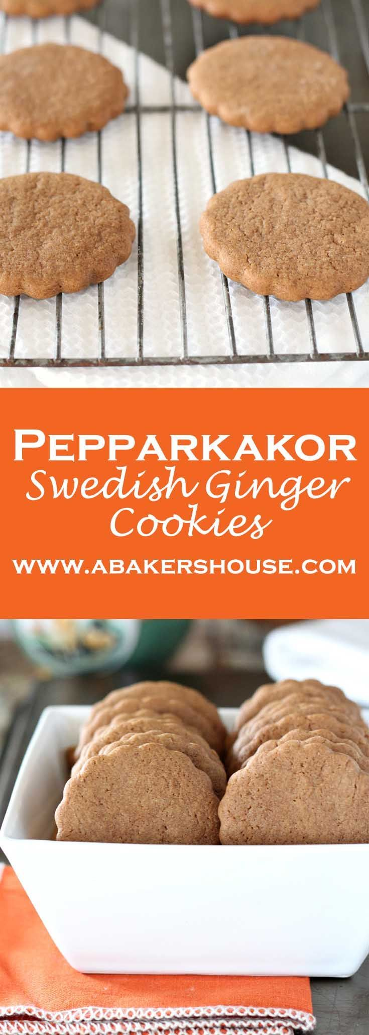 This Swedish ginger cookie is called Pepparkakor. It is perfect for a holiday Christmas cookie. These Swedish Ginger Cookies are delightfully easy. You might have come across this cookie in the children's book, Pippi Longstocking. Made by Holly Baker at www.abakershouse.com