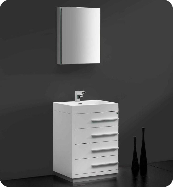 fresca livello white modern bathroom vanity w faucet u0026 medicine cabinet