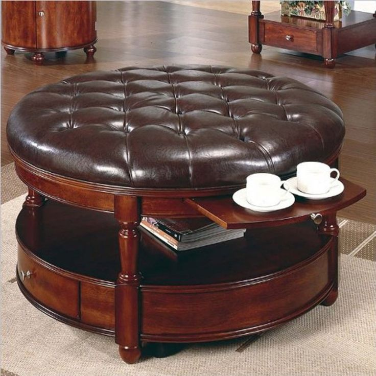 Round tufted ottoman coffee table foter homestyle for 34 inch round coffee table