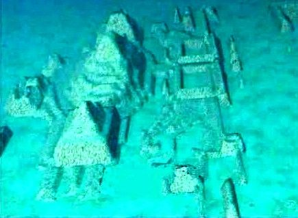 An underwater city believed by some to be a granite complex of structures over 2000 ft underwater off the coast of the Guanahacabibes peninsula - Pinar del Río Province, Cuba