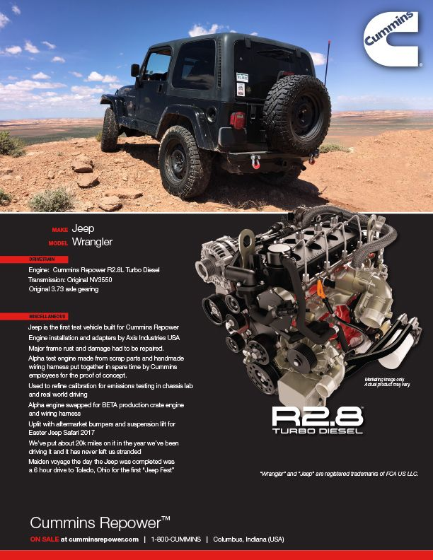 Jeep Wrangler Diesel Conversion Kits : wrangler, diesel, conversion, Cummins, Crate, Engines, Ready, Repower, Cummins,, Jeep,, Custom, Wrangler