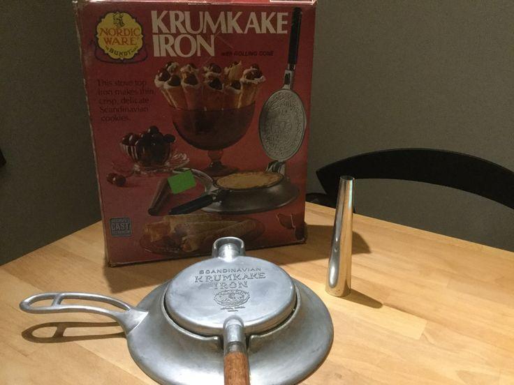 Vintage Scandinavian waffle cone maker Nordic Ware Krumkake Iron, embossed Cookie press, Wooden Handle Skillet, old bakeware by NecessaryJewelry on Etsy