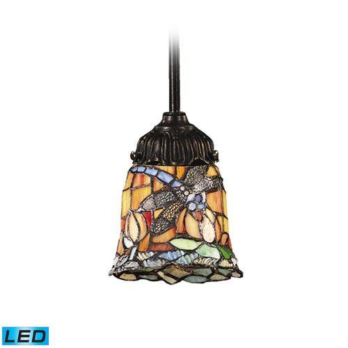 Elk Lighting Mix-N-Match Tiffany Bronze LED Mini-Pendant Light with Bell Shade   078-TB-12-LED   Destination Lighting