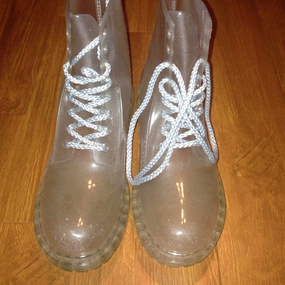 clear combat boot style rainboot by Dirty Laundry super cute clear rainboots, that lace up the front combat boot style. Can be worn with many different socks for a new boot look everyday! Only worn 2-3 times, no flaws, just not my style anymore Dirty Laundry Shoes