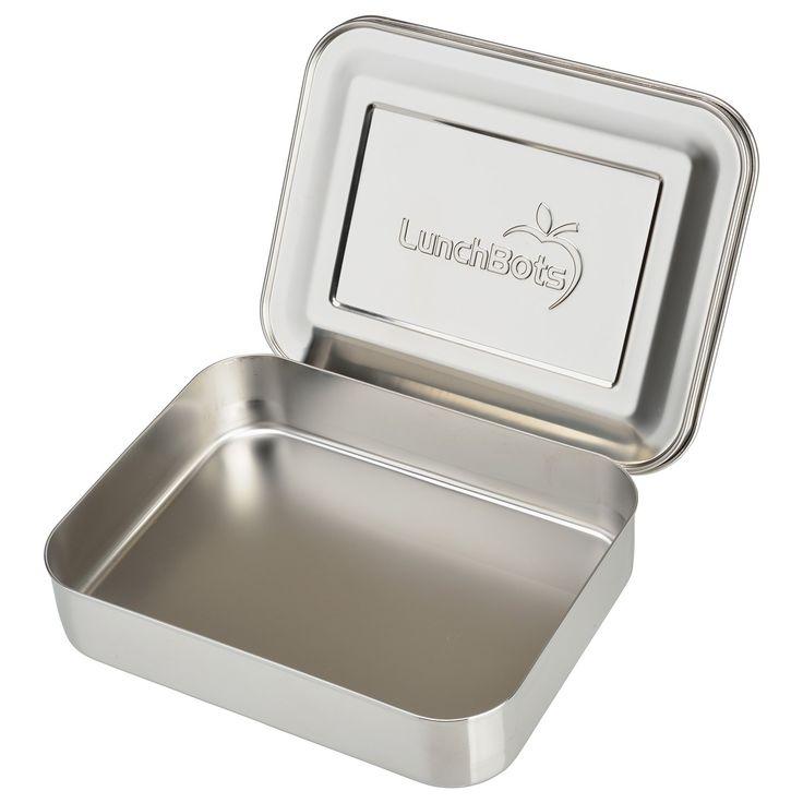 MatlådanBentoUno från LunchBots har ett stort fack som är perfekt för att förvara lunchen, frukt, sallad, smörgåsar m.m. Tillverkad av 18/8 livsmedelsklassat rostfritt stål som är stöttåligt och lätt att rengöra. Inga beläggningar eller gifter. BentoUno är bäst för torra livsmedel då den ej är läcksäker.   Mått: 20,3 x15,2 x4,4 cm Volym: 960 ml Skötselråd: Handdisk eller i diskmaskin
