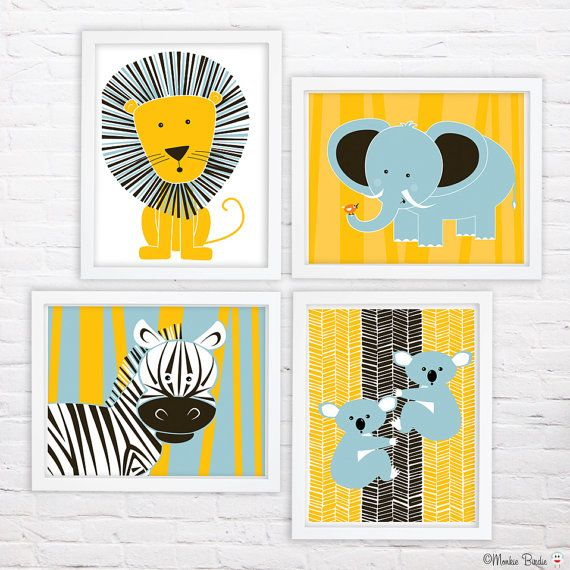 Jungle Animals Nursery Art Print Set of 4 11X14 by MonkieBirdie, $89.95