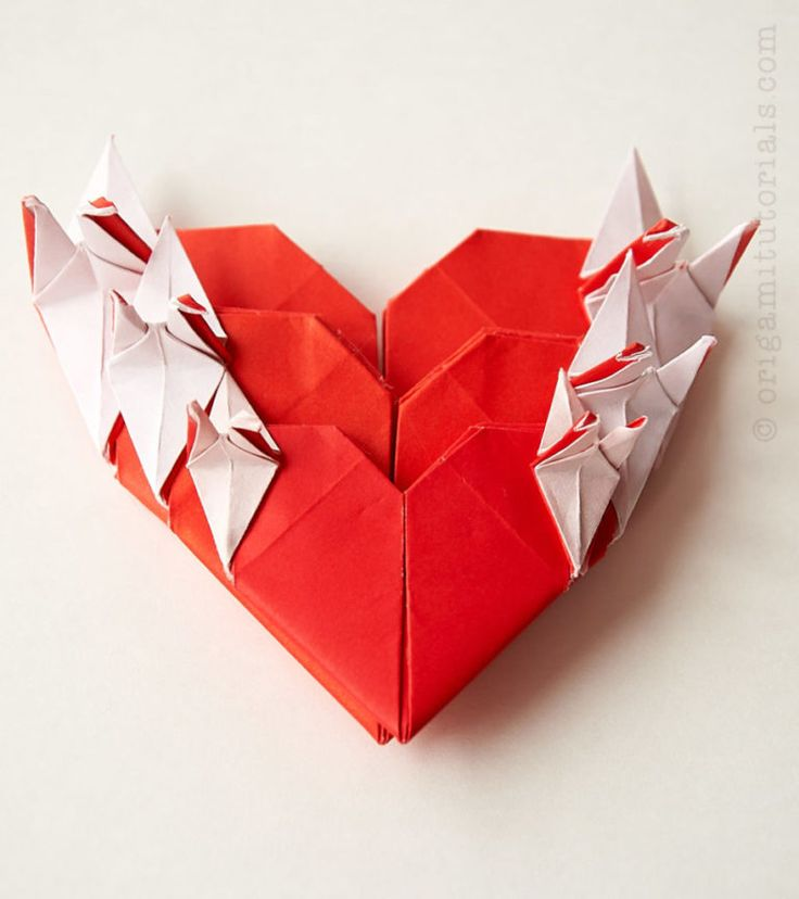 Origami Heart With Cranes Tutorial - WCASES   Origami ...