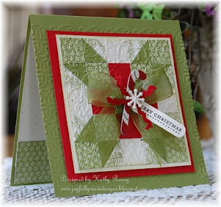 "Gorgeous Christmas ""Quilt"" Card...with a tag...Kathy: Joyfully Made Designs."