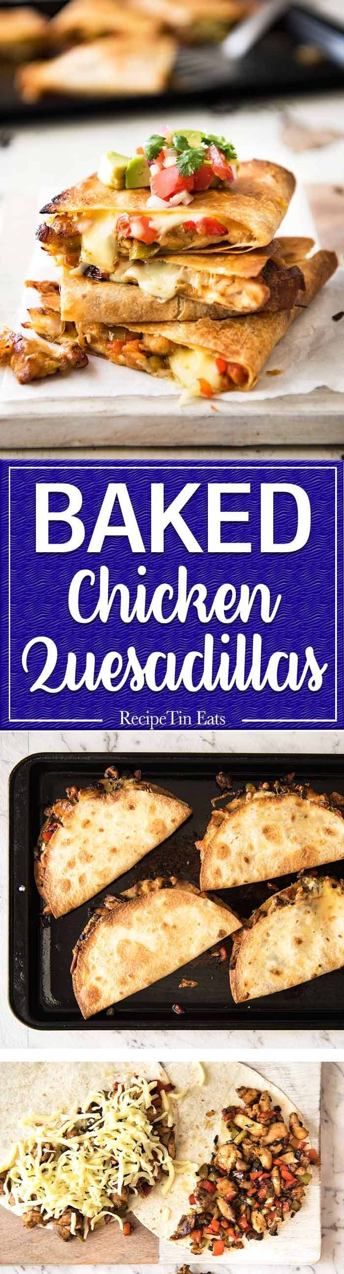 Crispy Oven Baked Chicken Quesadillas - This is how to make multiple Quesadillas at the same time! Crispy on the outside, stuffed with Mexican seasoned chicken and capsicum / bell peppers (and cheese of course!) www.recipetineats.com #chickenfajitas