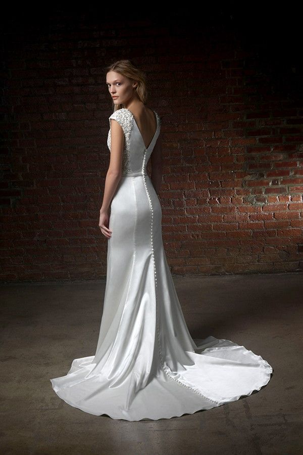 Satin wedding dresses with buttons | Henry Roth 2015 Wedding Dresses via @WorldofBridal