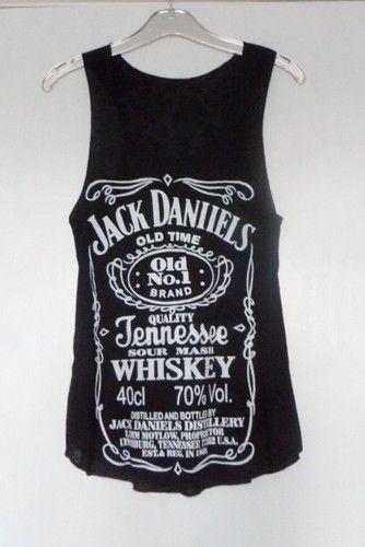 NEW Jack Daniels Whisky Label Sleeveless Vest Tank T Shirt Classic Design Ladies | eBay