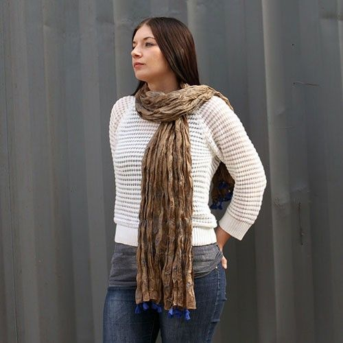 Grey Blue Antique Tassel Scarves - HipAngels - Wholesale Scarves #European_Scarves_Wholesale #Indian_Scarves_Cotton #Colorfull_Scarves #Best_Outifit_Scarves