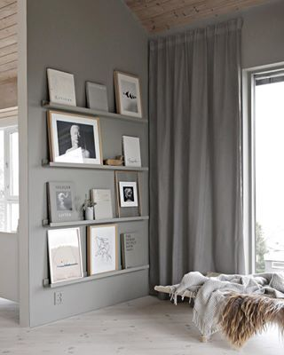 Its a grey kind of day bookwall artwall curtains livingroom stylizimohouse greywalls