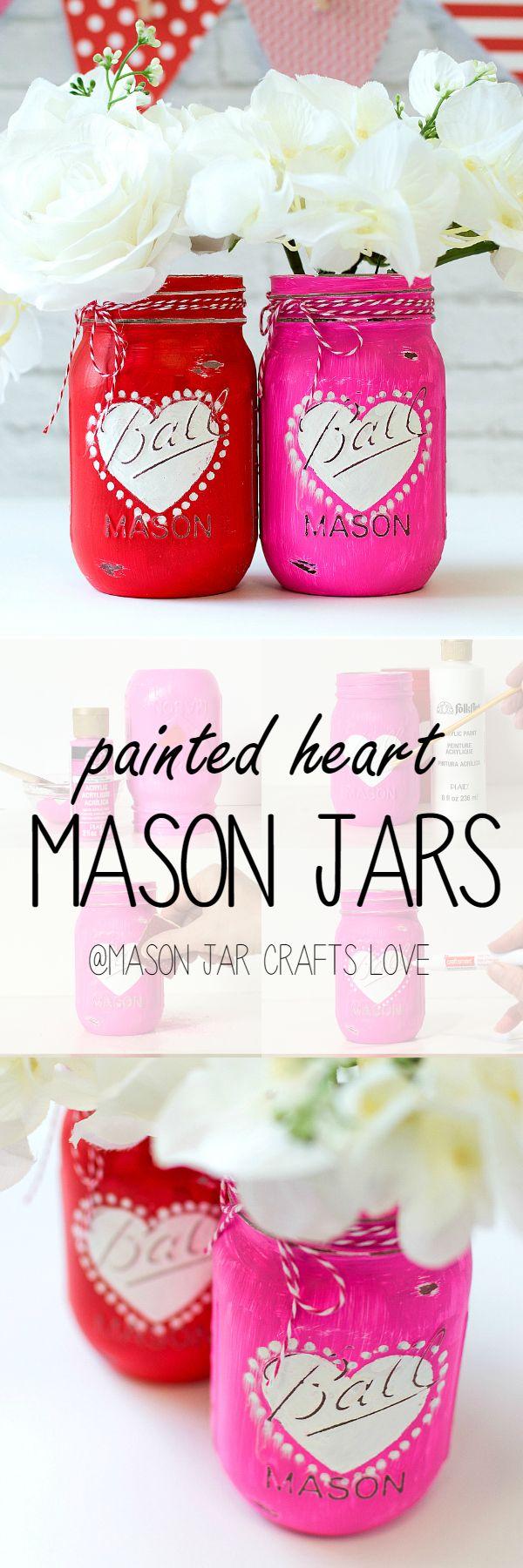 DIY Mason Jar Crafts for Valentine Day - Heart Jar Craft