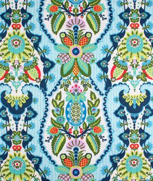 Amy Butler Harriet's Kitchen Sugar Fabric (navy blue, turquoise and green)
