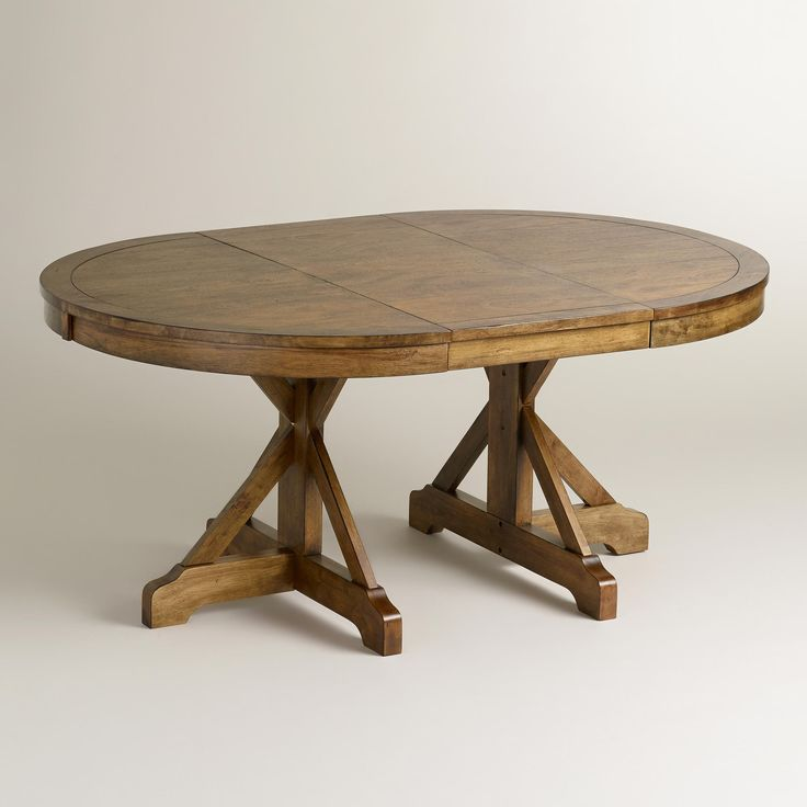 Farmhouse Extendable Dining Table Part - 42: Round To Oval X Base Extension Table. Round Extendable Dining ...