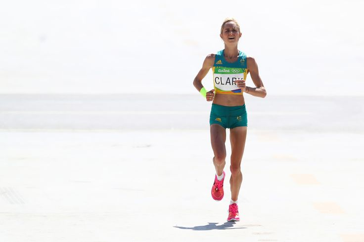Milly Clark of Australia approaches the finish line during the Women's Marathon on Day 9 of the Rio 2016 Olympic Games at the Sambodromo on August 14, 2016 in Rio de Janeiro, Brazil.