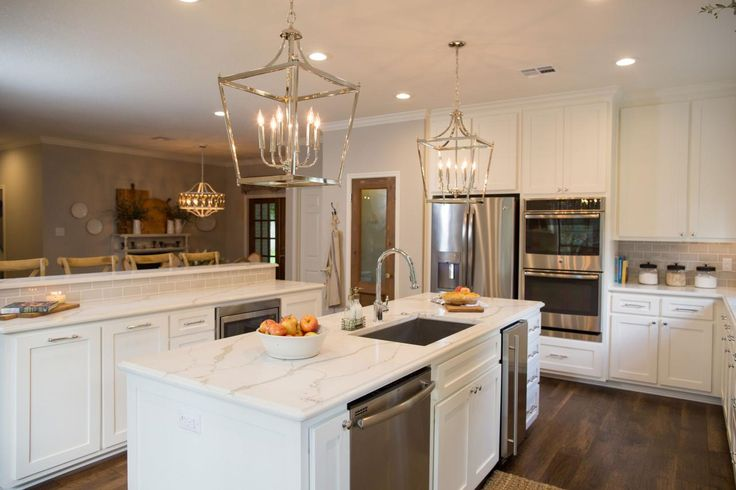 Fixer Upper from HGTV-Kitchen layout with double oven and fridge