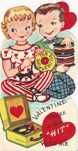 634 Kids with Records 45's Phonograph Record Player Vtg Unused Valentine Card | eBay