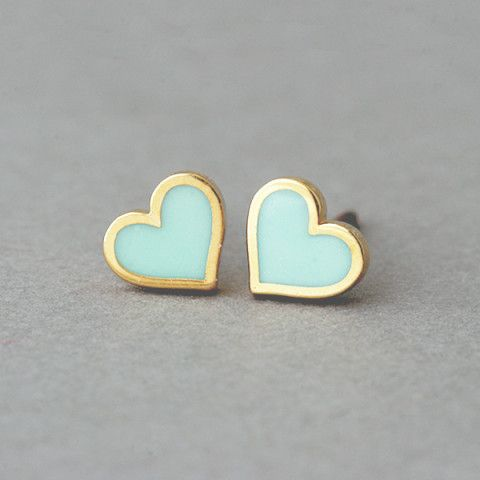 Mint Small Heart Stud Earrings. Now here is the perfect MINT gift y'all. Dainty. Feminine. Love.